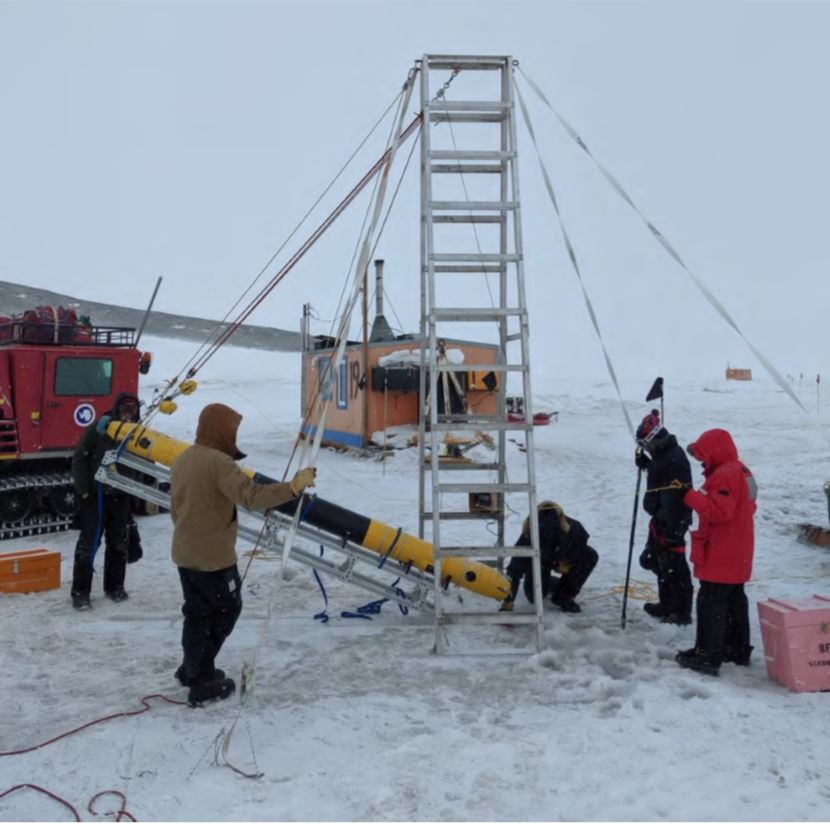 Figure 6: The team lifts Icefin on the LARS for the first time this season.