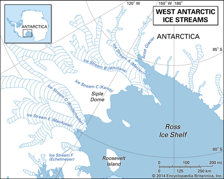 A map of ice streams in the West Antarctic Ice Sheet, showing ice streams A (Mercer Ice Stream) through F (Echelmeyer Ice Stream). (Image: Encyclopædia Britannica, https://bit.ly/2YArWxl)