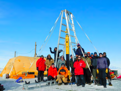 Figure 2: The Icefin and Melt teams took a moment for a group photo on the ice.