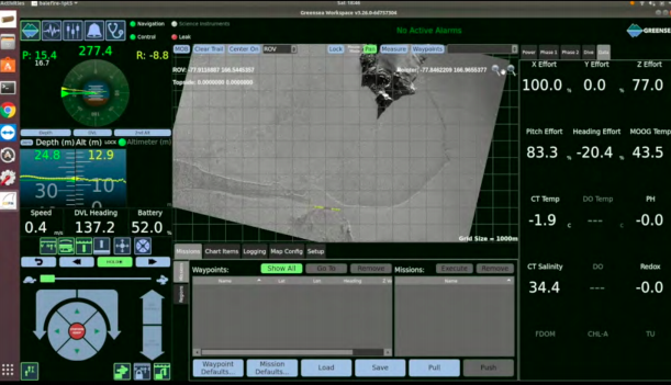 Figure 3: Still from an Icefin dive under the rift, showing the approximate vehicle position under the rift. The screen segments show vehicle attitude and depth on the left and snapshots of live data values we use to QC the data.