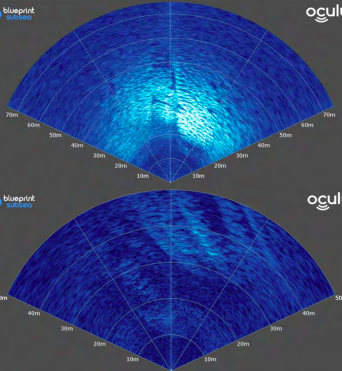 Figure 4: Forward looking sonar profiles of the narrow end and broad end of the rift, looking up.