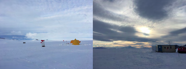 Figure 8: Tent city out on the ice shelf (left) and the late-night view through the clouds back towards the instructor hut and Mt. Discovery.