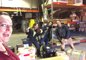 Figure 11: Thwaites crew plus Enrica enter the final boxes into cargo, and begin the wait to fly out.