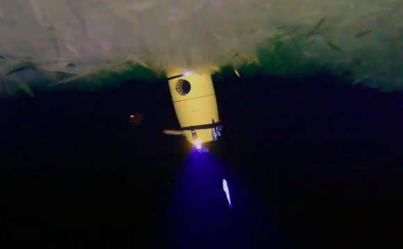 Figure 13: Icefin pops through the platelet ice, viewed by our OpenROV Trident.