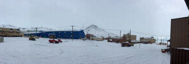 Figure 14: We've been treated to some rare and beautiful snow days in McMurdo lately. This shot is from our dorm 207, back towards the Galley (blue), Southern, Crary lab, and Observation Hill in the background. Atop Ob Hill is across left by the returning party in honor of Robert Falcon Scott and his team that made it to the south pole, only to die in tragedy 12 miles from their food depot. The team heard two fantastic lectures by Artist & Writers program participant Sarah Airriess who is writing and illustrating a graphic novel about the expedition.