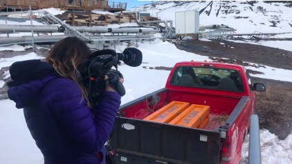 Figure 7: Gemma from BBC films Icefin being driven up to Science Cargo.