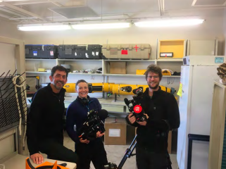 "Figure 8: Justin, Gemma and Ben from BBC with Icefin in the Icefin Crary Lab ""studio."""