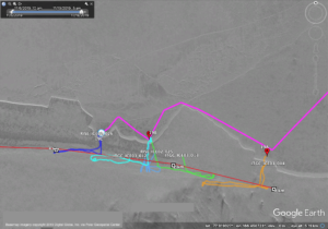 This map of the Icefin survey of the McMurdo Ice Shelf Rift shows the 4 km section mapped using Oculus sonar. Pink lines are a driving route the team took across the sea ice (3-5m thick) to their three operating sites. The jagged edge is the edge of the ice shelf (~15m thick), and three launch sites (marked 19A, 19B, and 19C) were the starting point for five missions (colored lines) under the opening rift (the gray shaded area). Image and dives compiled by Justin Lawrence.