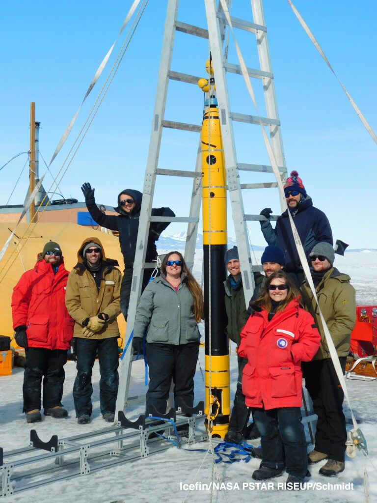 Our 2019-2020 Icefin field team during the last dive we did near McMurdo Base, before we split into two teams. Each team had a robot to conduct deep field dives, one below Thwaites Glacier and the other beneath Ross Ice Shelf.