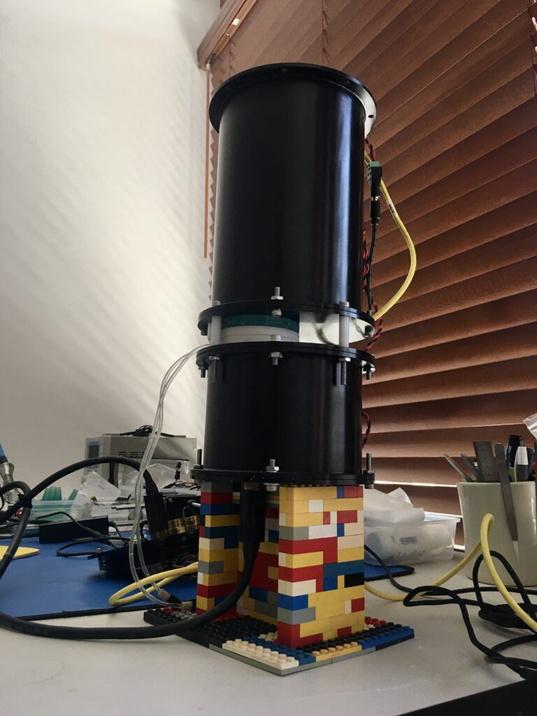 The microscope needed a stand so Andrew Mullen got creative while working from home and made one for it using LEGOs.