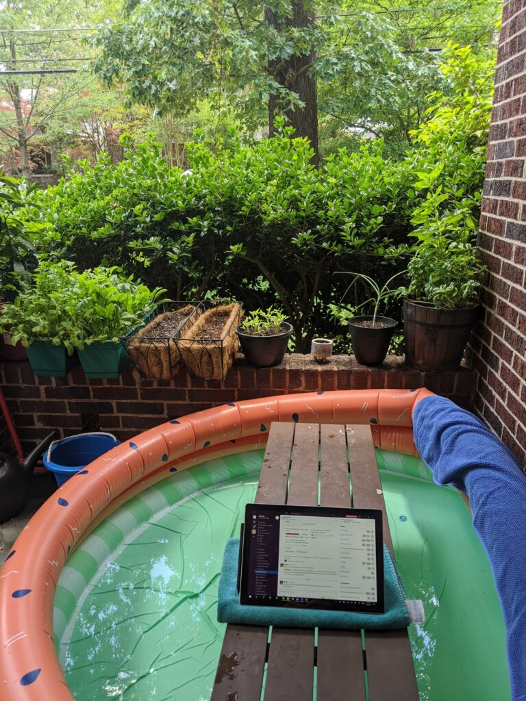Graduate Student and Icefin Engineer Ben Hurwitz enjoyed working outside on his patio, complete with a kiddie pool, on a beautiful 85°F day in Atlanta.