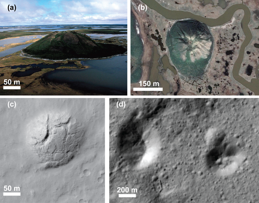 a) Oblique view of the ~50 m tall Ibyuk Pingo, Tuktoyaktuk, Northwest Territories, Canada (image credit - CBC). (b) Plan view look at Ibyuk Pingo (image credit - Google Earth). (c) Pingo candidate on Mars (image credit NASA/JPL/UA/MRO/HiRISE). (d) Two pingo candidates on Ceres (image citation NASA/JPL/Dawn)