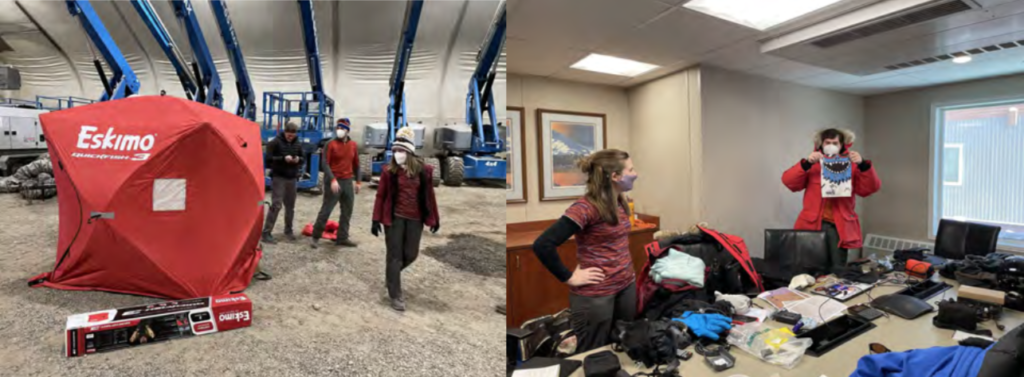 Photos of Gear shakedown in the tent at AER (left) and cold weather gear review at AOH (right).