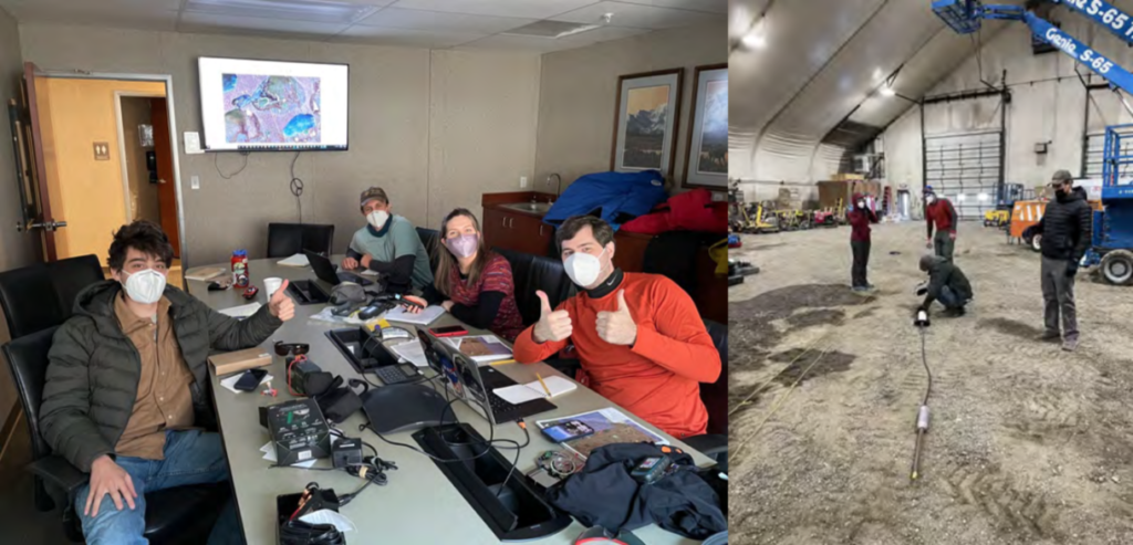 Photos of Map & mission review at AOH (left) and Ohm Mapper test at AER (right).
