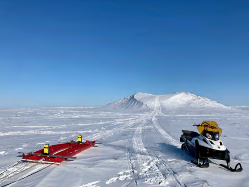 Photo of A view of our science tow sled in 'pontoon' mode being prepared to support the 50 MHz GPR antennas.